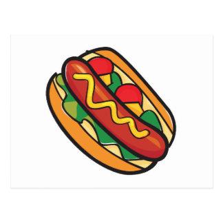 hot dog in bun postcard