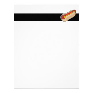 hot dog in bun with ketchup and mustard graphic letterhead