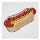 hot dog in bun with ketchup and mustard graphic poster