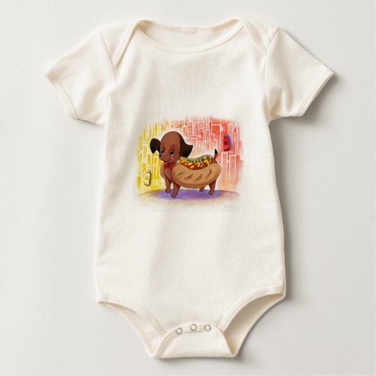 Hot Dog In The City Kitschy Cute Baby Bodysuit