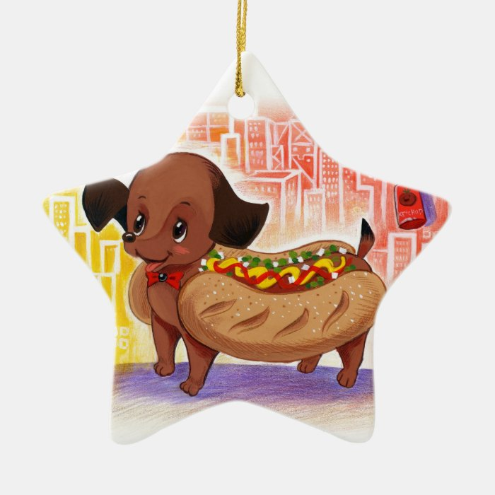 Hot Dog In The City Kitschy Cute Ceramic Ornament