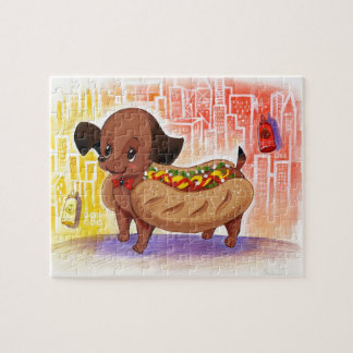 Hot Dog In The City Kitschy Cute Jigsaw Puzzle