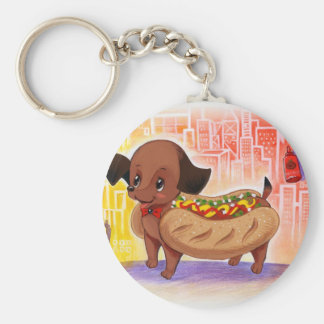 Hot Dog In The City Kitschy Cute Keychain