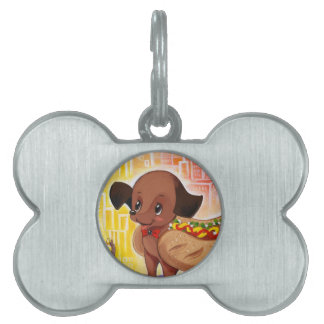 Hot Dog In The City Kitschy Cute Pet Name Tag