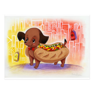 Hot Dog In The City Kitschy Cute Postcard