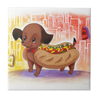 Hot Dog In The City Kitschy Cute Tile