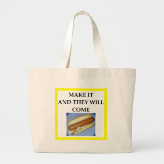 hot dog large tote bag