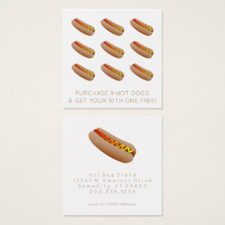 Hot Dog Loyalty Stamp Square Business Card
