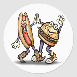 Hot Dog n Hamburger Classic Round Sticker