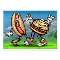 Hot Dog n Hamburger Postcard