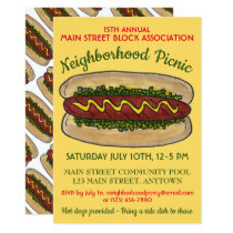 Hot Dog Neighborhood Reunion Picnic Cookout Party Invitation