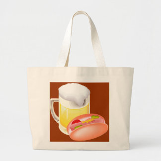 Hot dog on a bun and beer with all the fixin's tote bags