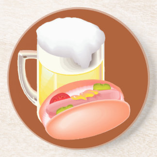 Hot dog on a bun and beer with all the fixin's drink coasters