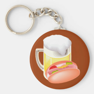 Hot dog on a bun and beer with all the fixin's keychain
