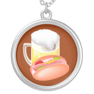 Hot dog on a bun and beer with all the fixin's pendants