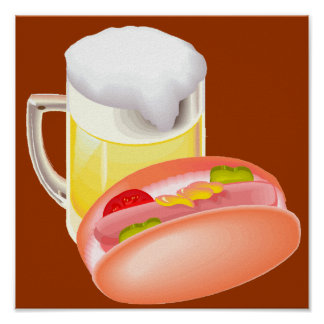 Hot dog on a bun and beer with all the fixin's print