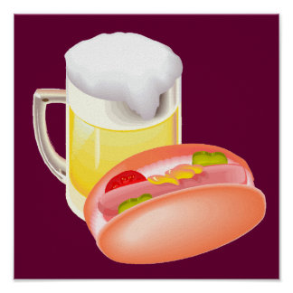 Hot dog on a bun and beer with all the fixin's red print