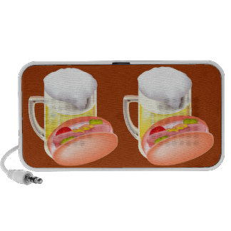 Hot dog on a bun and beer with all the fixin's travel speakers
