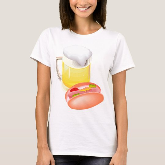 Hot dog on a bun and beer with all the fixin's T-Shirt