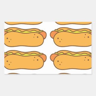 Hot dog on a bun rectangular sticker
