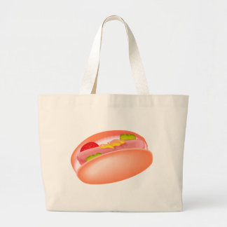 Hot dog on a bun with all the fixin's canvas bags