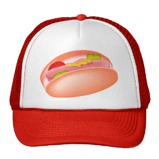 Hot dog on a bun with all the fixin's mesh hats