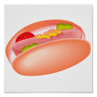 Hot dog on a bun with all the fixin's print