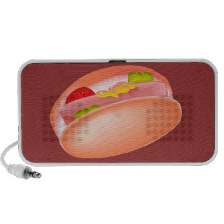 Hot dog on a bun with all the fixin's mini speakers