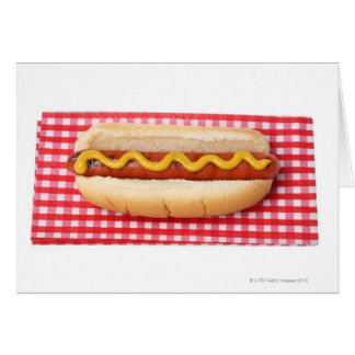 Hot Dog on Checkered Picnic Table Greeting Card