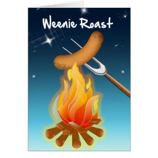 Hot Dog Over Campfire Weenie Roast Card