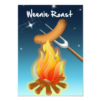 "Hot Dog Over Campfire Weenie Roast 5"" X 7"" Invitation Card"