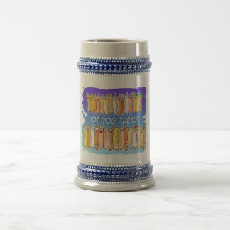 Hot Dog Parade with blue background Beer Stein