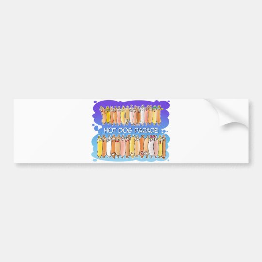 Hot Dog Parade with blue background Bumper Sticker