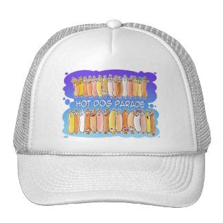 Hot Dog Parade with blue background Trucker Hat