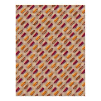 Hot dog pattern postcard