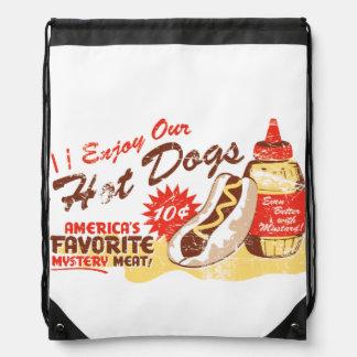 Hot Dog Retro Drawstring Bag