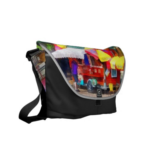 Hot Dog Stand in Mall Courier Bag