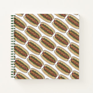 Hot Dog w/ Mustard and Relish Hotdog Fast Food Notebook