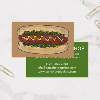 Hot Dog w/ Mustard Relish Food Chef Restaurant Business Card