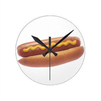 Hot Dog with Mustard Round Wall Clocks