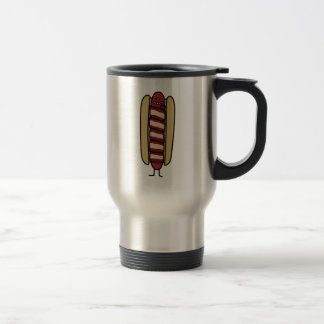 Hot dog wrapped in Bacon Travel Mug