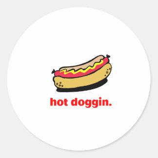 Hot Doggin Classic Round Sticker
