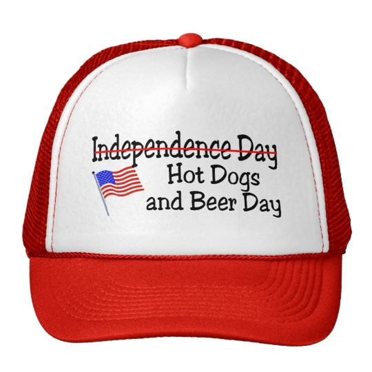 Hot Dogs and Beer Independence Day Trucker Hat