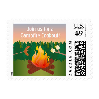 Hot Dogs and Marshmallows Campfire Cook Out Postage