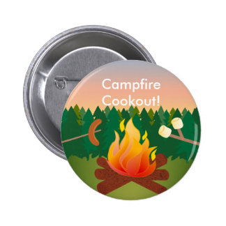 Hot Dogs and Marshmallows Campfire Cookout Button