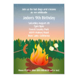 Hot Dogs and Smores Campfire Birthday Party 4.5x6.25 Paper Invitation Card