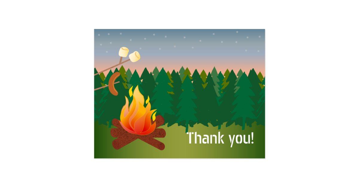 Hot Dogs And S Mores Campfire Thank You Postcard Zazzle