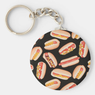 Hot Dogs Basic Round Button Keychain