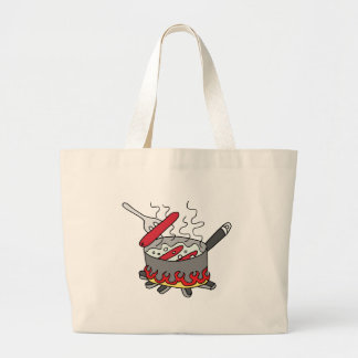 Hot dogs boiling in a pot of water large tote bag