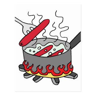 Hot dogs boiling in a pot of water postcard